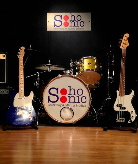 Live room at Soho Sonic recording studio.